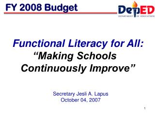 "Functional Literacy for All: ""Making Schools   Continuously Improve"""