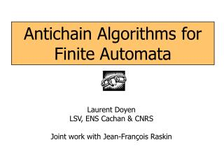 Antichain Algorithms for Finite Automata