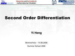 Second Order Differentiation