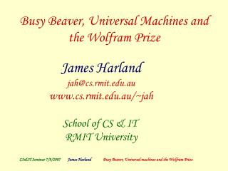 Busy Beaver, Universal Machines and the Wolfram Prize