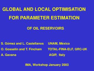 GLOBAL AND LOCAL OPTIMISATION      FOR PARAMETER ESTIMATION