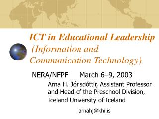 ICT in Educational Leadership (Information and Communication Technology)
