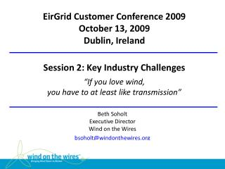 Beth Soholt Executive Director Wind  on the Wires bsoholt@windonthewires