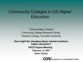 Community Colleges in US Higher Education