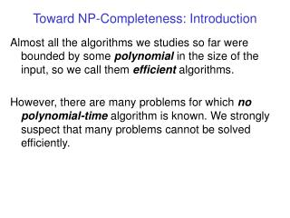 Toward NP-Completeness: Introduction