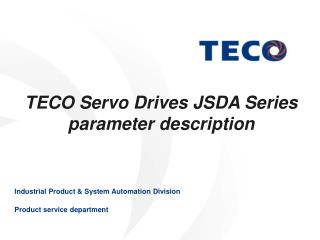 TECO Servo Drives JSDA Series  parameter description