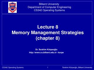 Lecture 8  Memory Management Strategies  (chapter 8)