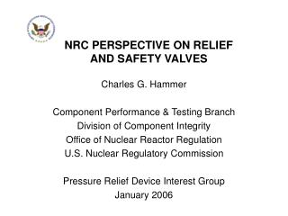 NRC PERSPECTIVE ON RELIEF AND SAFETY VALVES