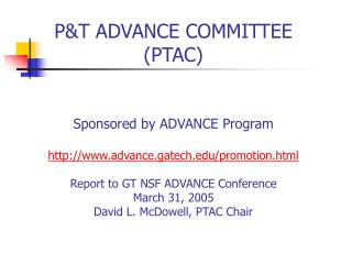 PTAC Goals & Deliverables