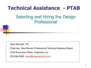 Technical Assistance  - PTAB