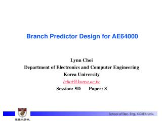 Branch Predictor Design for AE64000