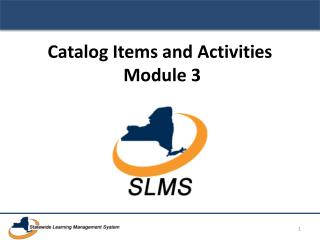 Catalog Items and Activities Module 3