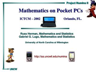 Mathematics on Pocket PCs ICTCM – 2002                             Orlando, FL.