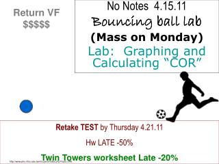 "No Notes  4.15.11 Bouncing ball lab (Mass on Monday) Lab:  Graphing and Calculating ""COR"""