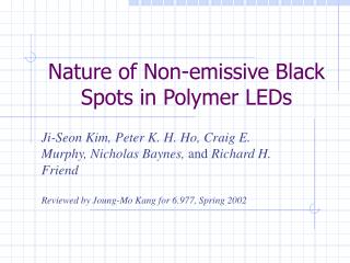 Nature of Non-emissive Black Spots in Polymer LEDs