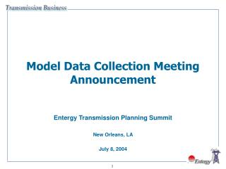 Model Data Collection Meeting Announcement