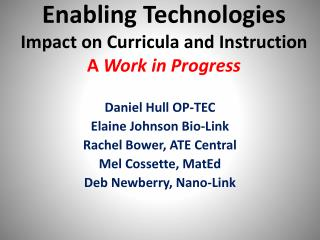 Enabling Technologies Impact on Curricula and Instruction A  Work in Progress