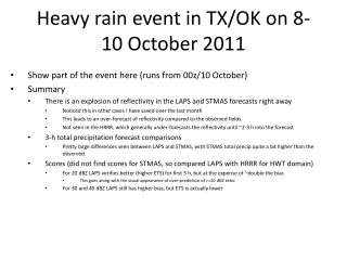 Heavy rain event in TX/OK on 8-10 October 2011