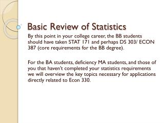 Basic Review of Statistics