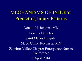 MECHANISMS OF INJURY: Predicting Injury Patterns