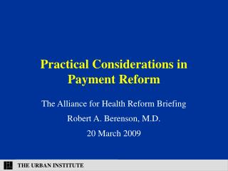 Practical Considerations in Payment Reform