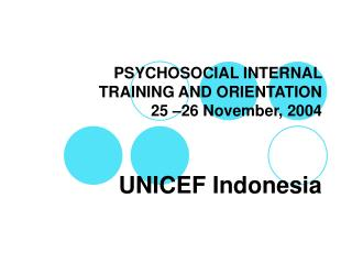 PSYCHOSOCIAL INTERNAL TRAINING AND ORIENTATION 25 –26 November, 2004