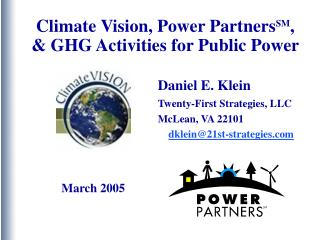 Climate Vision, Power Partners SM , & GHG Activities for Public Power