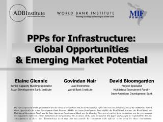 PPPs for Infrastructure: Global Opportunities & Emerging Market Potential