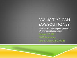 Saving Time Can Save You Money
