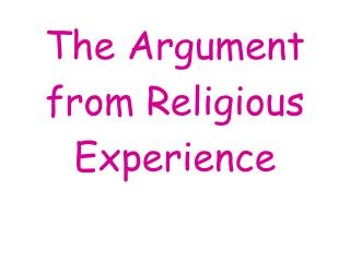 The Argument from Religious Experience