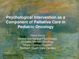 Psychological Intervention as a Component of Palliative Care in Pediatric Oncology