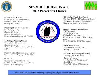 SEYMOUR JOHNSON AFB  2013 Prevention Classes