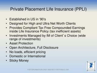 Private Placement Life Insurance (PPLI)