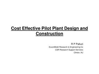 Cost Effective Pilot Plant Design and Construction