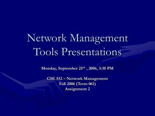Network Management Tools Presentations