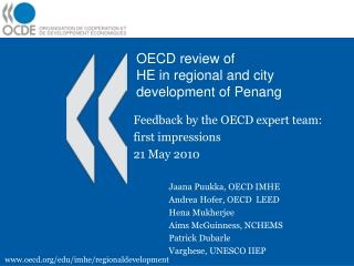 OECD review of  HE in regional and city development of Penang