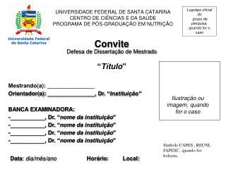"""Convite Defesa de Dissertação de Mestrado """" Título """""""