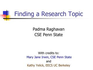 Finding a Research Topic