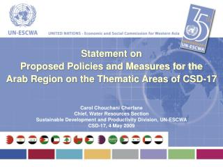 Statement on  Proposed Policies and Measures for the  Arab Region on the Thematic Areas of CSD-17