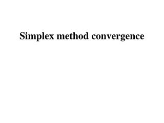 Simplex method convergence
