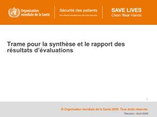 Trame pour la synthèse et le rapport des résultats d'évaluations