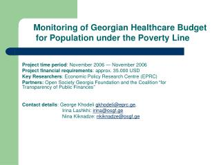 Monitoring of Georgian Healthcare Budget  for Population under the Poverty Line