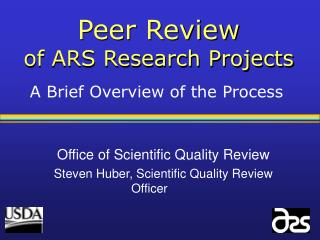 Peer Review of ARS Research Projects