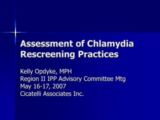 Assessment of Chlamydia Rescreening Practices