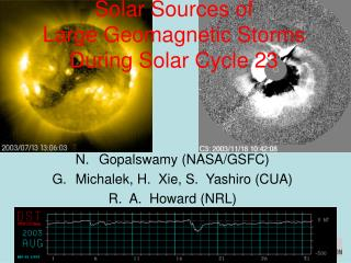 Solar Sources of  Large Geomagnetic Storms During Solar Cycle 23