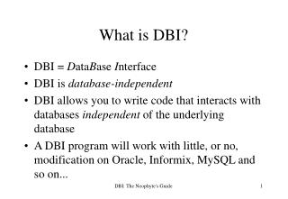 What is DBI?