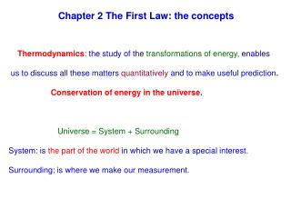 Chapter 2 The First Law: the concepts