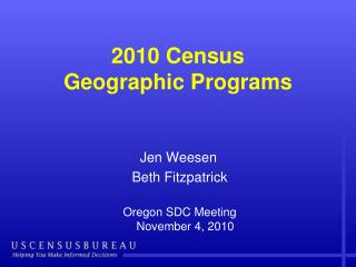 2010 Census  Geographic Programs