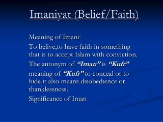 Imaniyat (Belief/Faith)