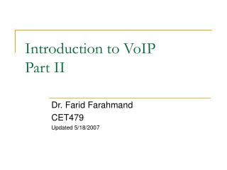 Introduction to VoIP Part II
